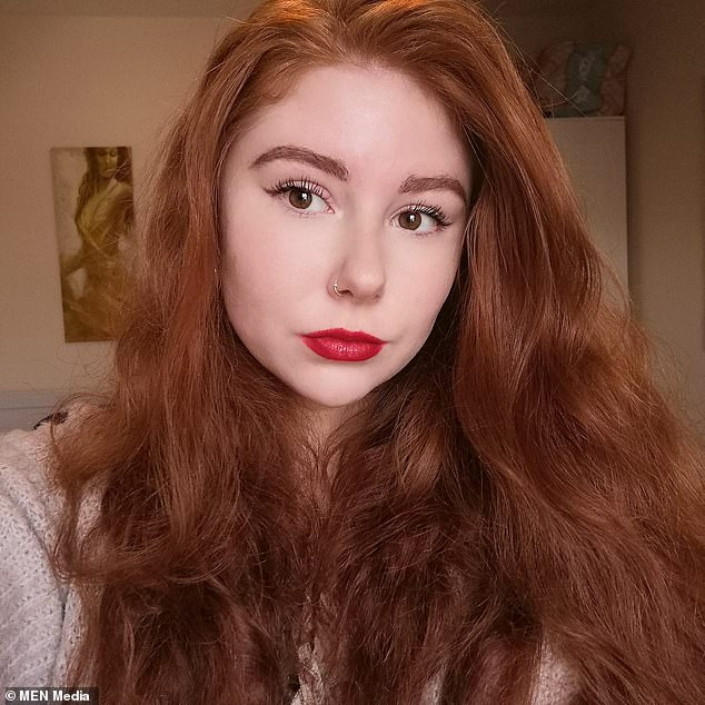 Kerris Fenn, 22, tore up the last mouthful of her lunch and scattered it for the birds after they 'sweetly' gathered around her in Manchester city centre last Sunday
