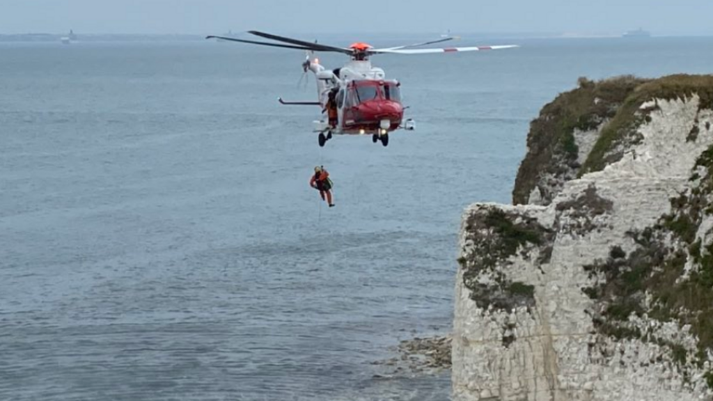 The woman was airlifted to the cliff top. Pic: Swanage Fire Station
