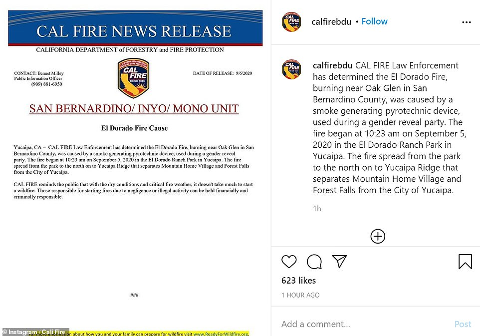 California Department of Forestry and Fire Protection says gender reveal party put out fires Sunday night