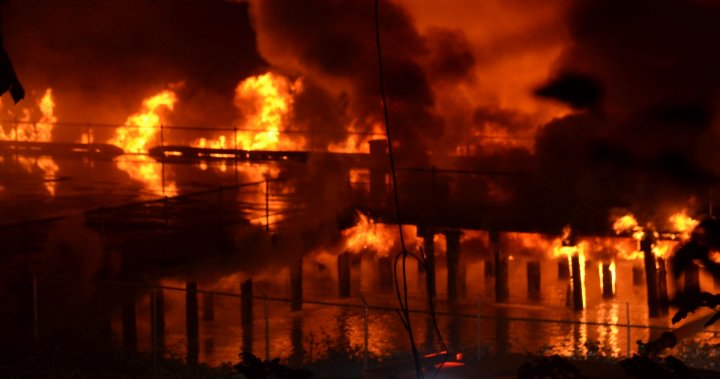 The section of New Westminster's Peer Park was 'completely destroyed' by a huge fire: Mayor