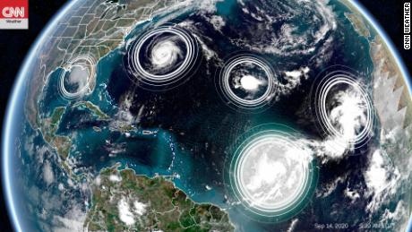 5 tropical cyclones simultaneously for the second time in history in the Atlantic