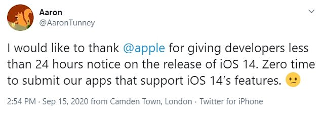 Many developers have turned a blind eye to the announcement that Apple will launch its iOS 14 on Wednesday, as many believe the release will not be until next week.  Developers had to work twice as long to meet the submission deadline