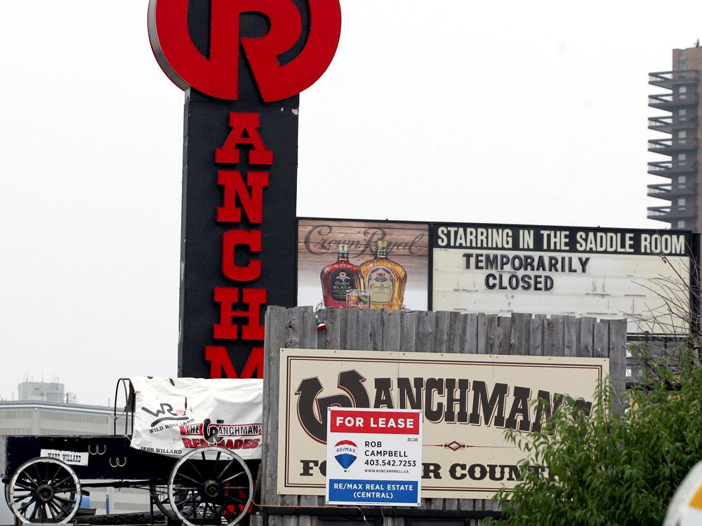 """A """"For Lease"""" sign is seen on the iconic Ranchman"""