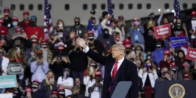 President Donald Trump addressed the audience on September 19, 2020, at Foytville Regional Airport in Foytville, NC.  (Associated Press)