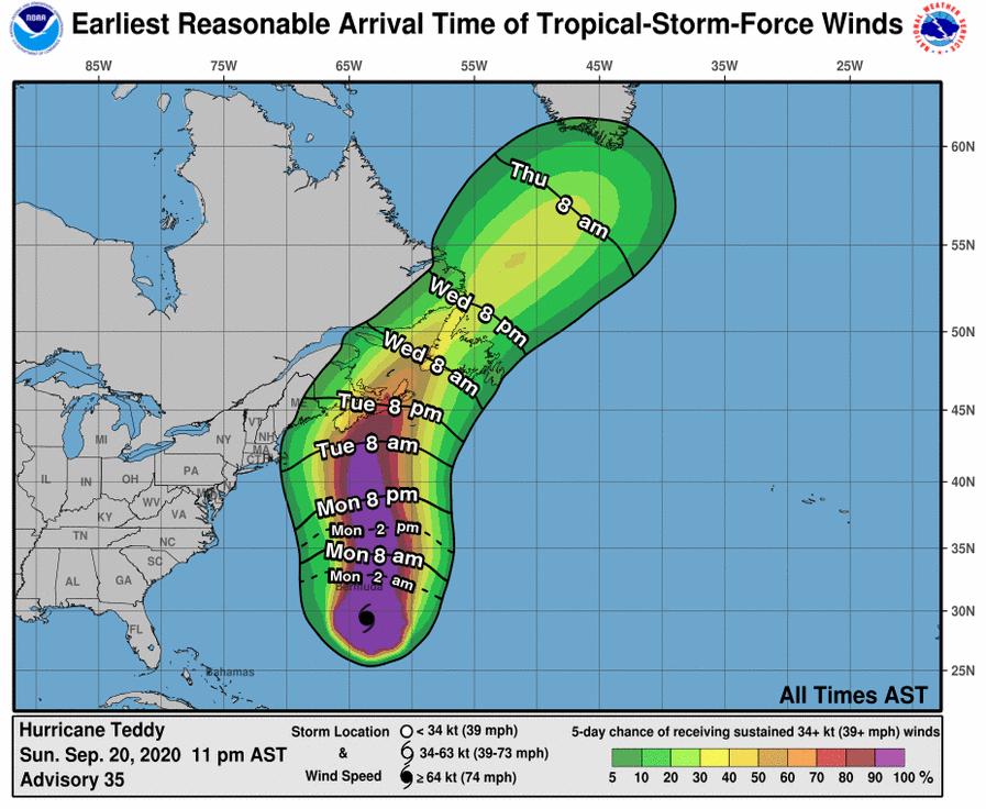 Teddy Hurricane 2020 NOAA NHC Wind Arrival Time
