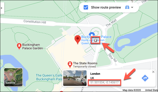 Coordinates for Buckingham Palace in London are shown on the Google Maps website