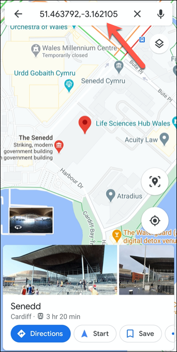 Coordinates GPS for the Welsh Parliament in the UK in the Google Maps app on Android.