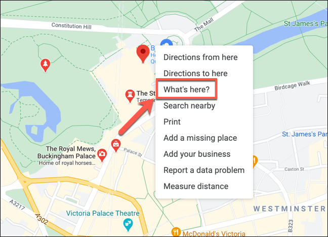 """Right-click on a location in Google Maps and then tap """"What's here?"""" To view the coordinates."""