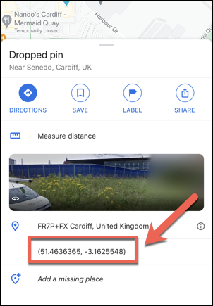 Coordinates for the Welsh Parliament in the UK as shown in the Google Maps app on the iPhone.