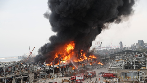 A huge fire broke out in the port of Beirut after an explosion last month