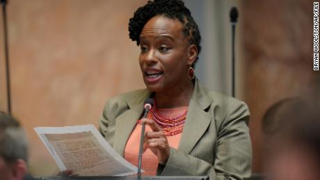 Kentucky Democratic State Representative Attica Scott is speaking at the House of Representatives on Wednesday, March 2, 2020, in Capitol, Frankfurt, Cairo.