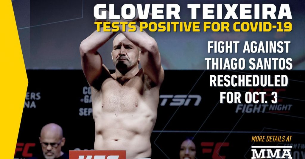Glover Teixeira tests positive for COVID-19, battling Thiago Santos rescheduled for UFC event on October 3