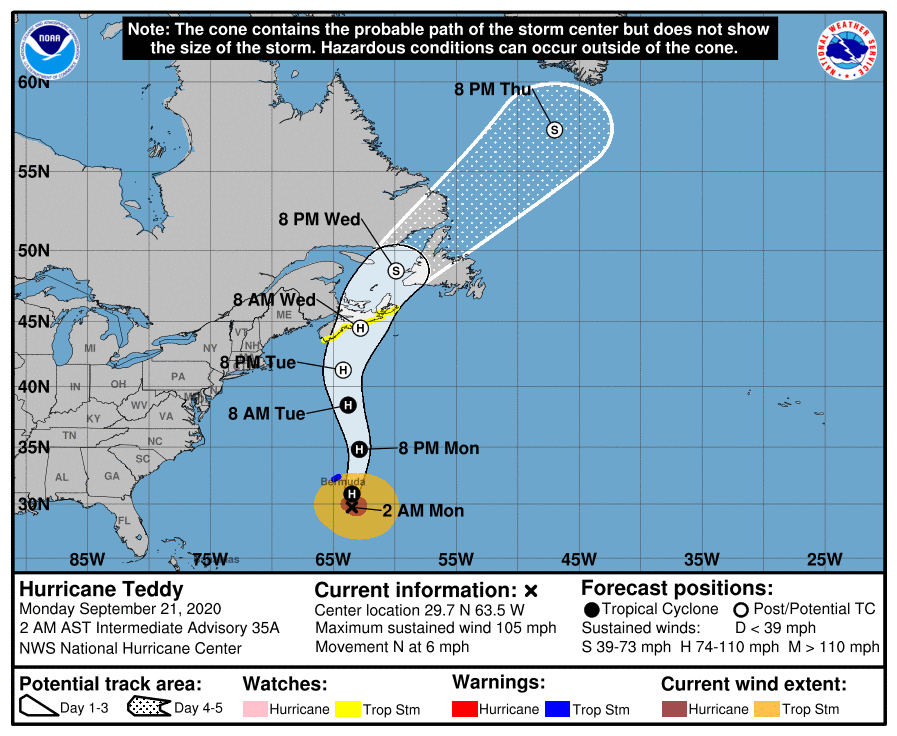 NOAA National Hurricane Center Hurricane Teddy 2020 forecast route