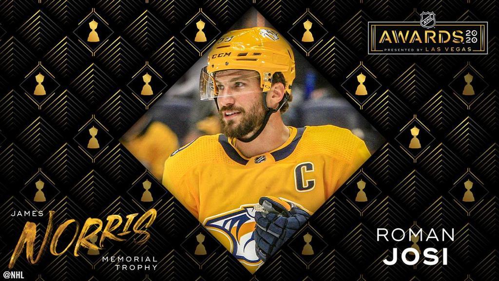 Josie Norris of the Predators wins the trophy as the best defender in the NHL