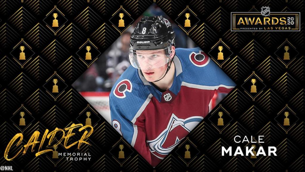 McCar Calder of Avalanche won the trophy as an NHL rookie
