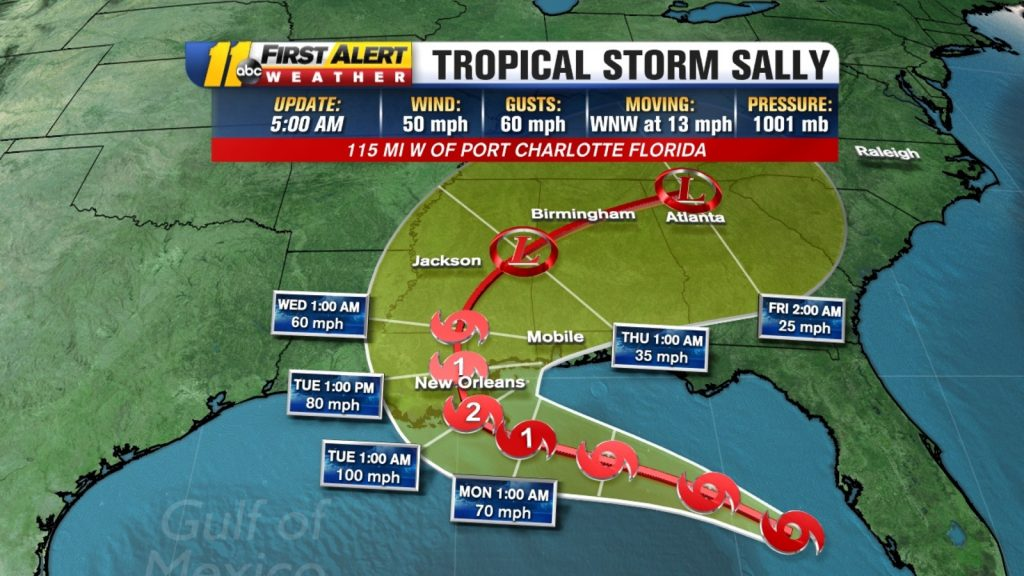 National Hurricane Center: Tropical cyclone Sally Category 2 hurricane could strengthen before landfall on Tuesday off the coast of the Gulf