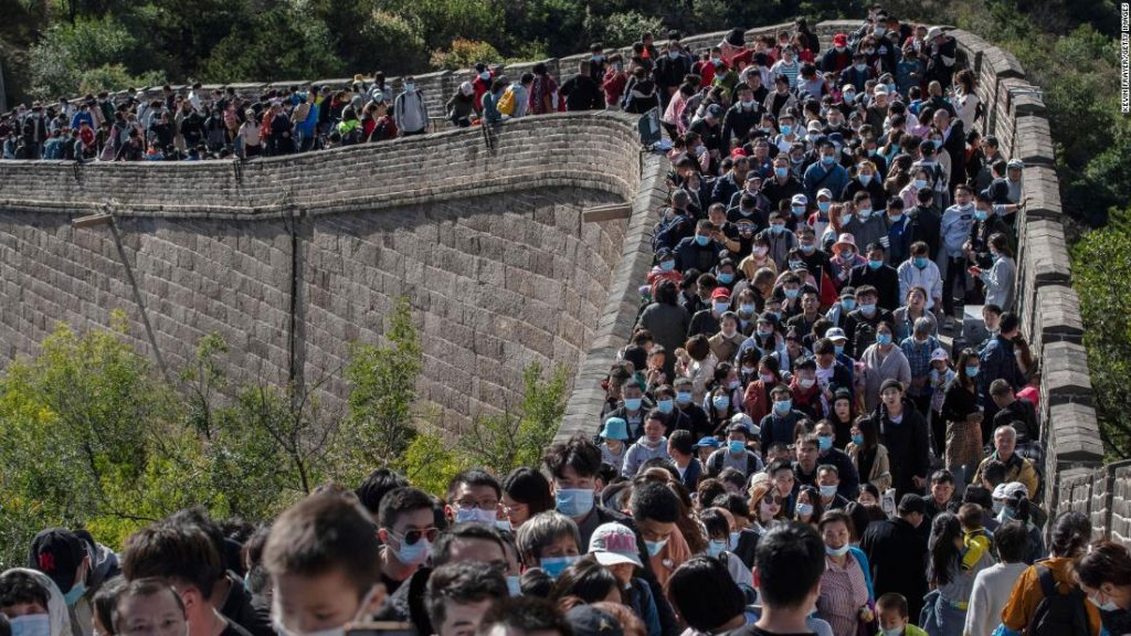 What pandemic?  Crowds flock to the Great Wall of China during the holiday week