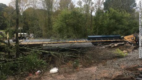 CSX train derails in Georgia after heavy rains from Delta hurricane debris