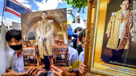 At a pro-government and pro-monarchy rally in Bangkok on July 30, 2020, exhibitors featured portraits of King Maha Waziralongkorn of Thailand and his late father, King Bhumibol Adulyadej.