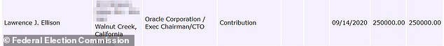 The image above shows the Ellison donation receipt as shown on the Federal Election Commission website