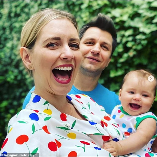 Family: Husband Pasha Kovelev (center) speaks to her in 'completely Russian' (filmed in June), revealing her hopes for TV star Maven to be bilingual