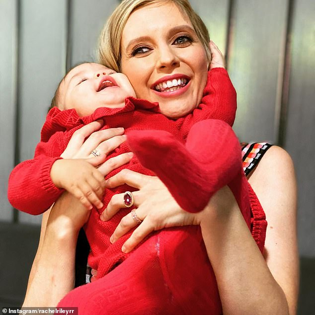 It was so sweet: the countdown presenter, 34, looked bright as she hugged her 10-month-old daughter and kept her mouth open as she counted her upcoming first birthday.