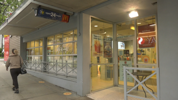 An employee of the Vancouver McDonald's exams who are compatible with COVID-19