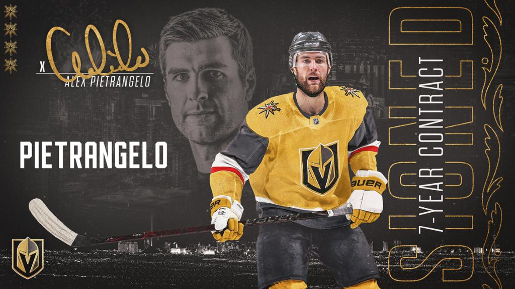 Golden Knights sign a seven-year contract with defenseman Alex Pitrange