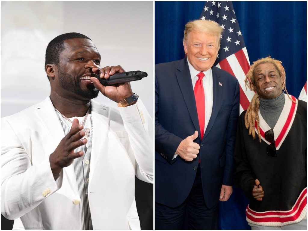 Lil Wayne: 50 cents criticizes rapper for sharing smiling Trump photo after withdrawing own support for president