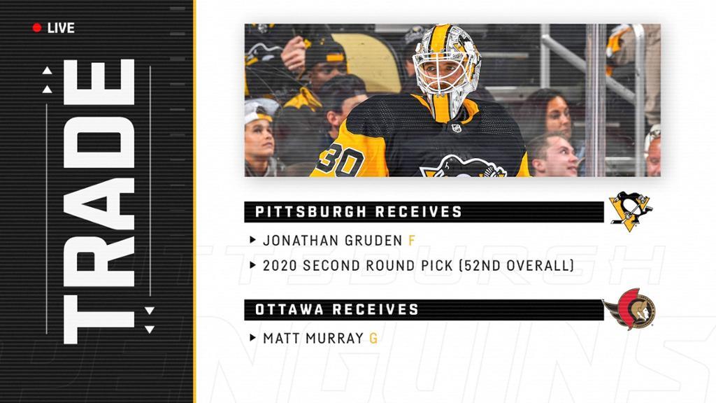 Penguins capture Gruden and 2020 2nd round draft pick for Matt Murray