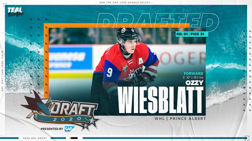 Select Ozzy Viceblot with the 31st overall selection in the Sharks NHL Draft