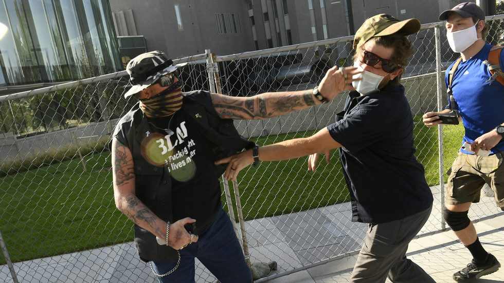 The suspect in the shooting in Denver was identified by a local channel as a 'private security guard', police said 'not affiliated with Antifa'.
