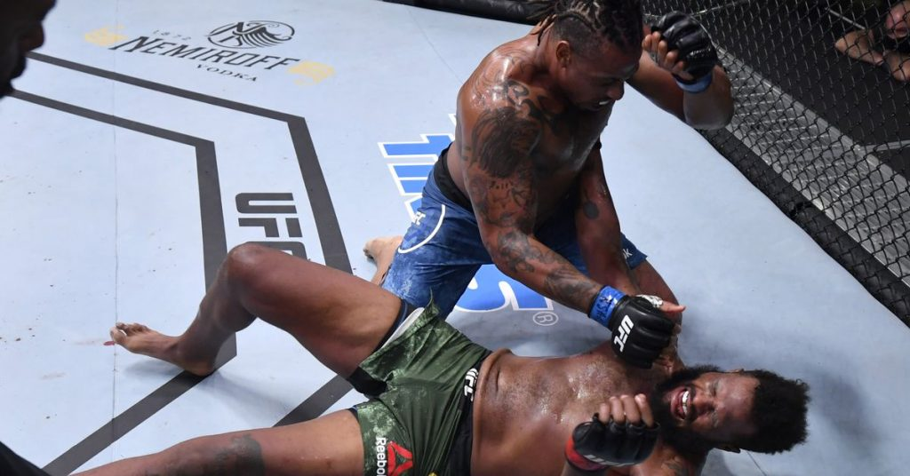 UFC Vegas 12 Video: Greg Hardy knocks down Maurice Greene and bombs him with punches in an attempt to stop him