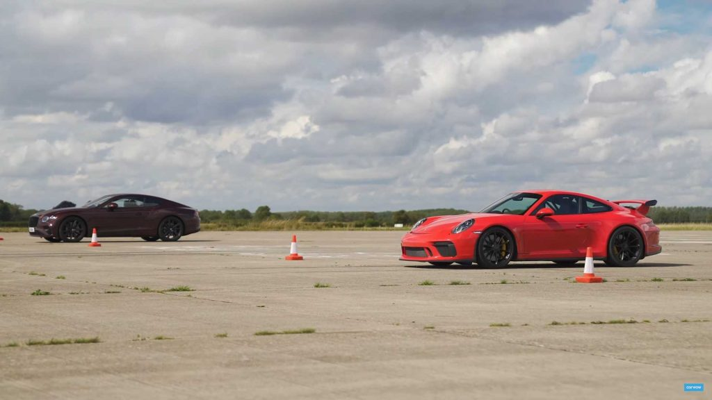 911 GT3 drag race by Bentley Continental GT vs Porsche will surprise you