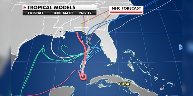 Forecast patterns show that there is still some uncertainty as to where Eta will go.