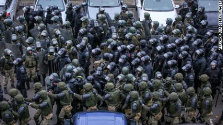 Law enforcement officials will meet in Minsk on November 15 to disperse opposition supporters at a rally to protest the results of the Belarusian presidential election.