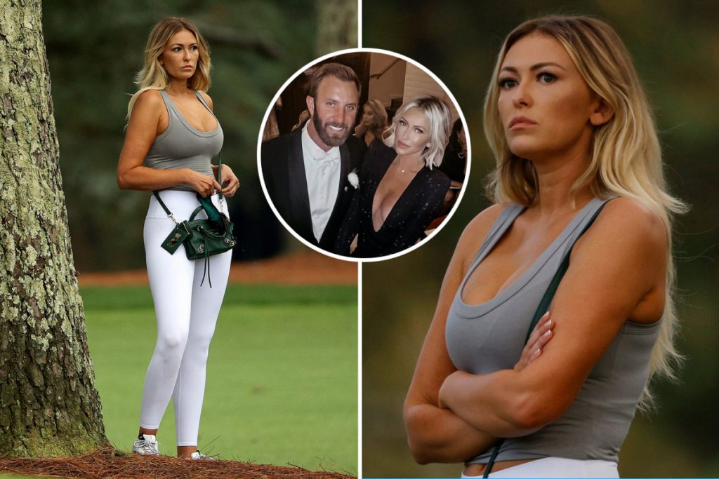 Dustin Johnson's fiance Paulina Gretzky stunned at the low cut top while watching golf no.  Won the first Masters 1 in Augusta