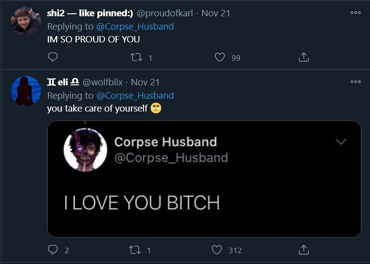 Corpse husband, pictured via Twitter