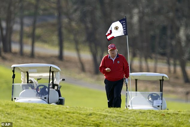 President Trump was playing golf on his Thanksgiving holiday, and then tweeted about the election.  He appeared above Thursday at his golf course in Sterling, Virginia