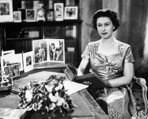 Queen Elizabeth II filmed before her Christmas sermon in Sandringham in 1957