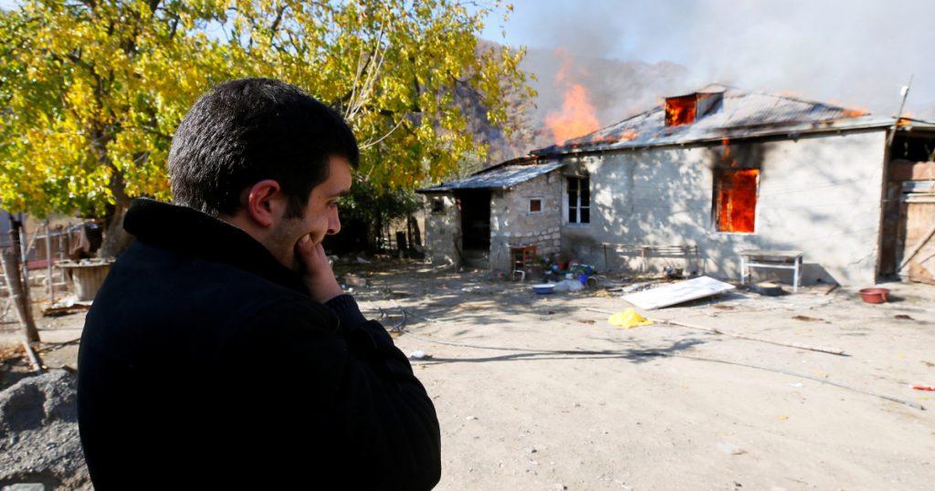 Ethnic Armenian villagers burn down houses before occupying Azerbaijan |  Nagorno-Karabakh