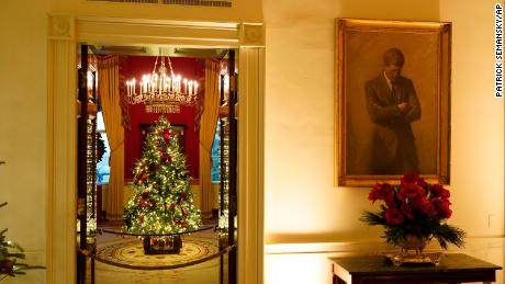 The Red Room of the White House was decorated on Monday, November 30, 2020, during the 2020 Christmas Preview in Washington.