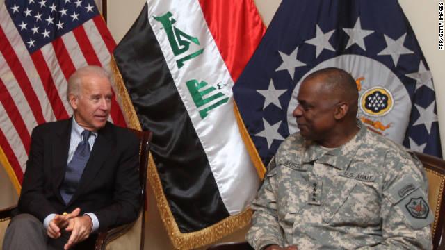 Then-US Vice President Joe Biden meets with Gen. Lloyd Austin on November 29, 2011.