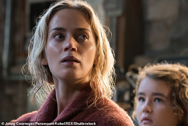 Waiting with bloated breath: Her latest film, in partnership with husband John Krasinski, A Quiet Place Part II, will hit theaters on March 20;  The 2018 original can be viewed here
