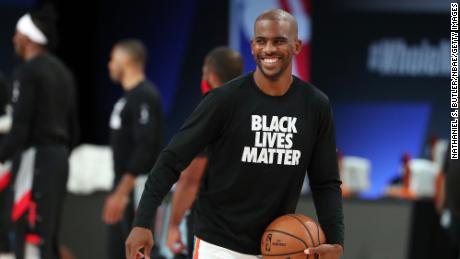 Chris Paul smiles at the Oklahoma City Thunder during a game against the Houston Rockets during a seven round one game at the NBA Playoffs on September 2, 2020 at The Advent Health Arena at the ESPN Wide World of Sports Complex in Orlando, Florida.