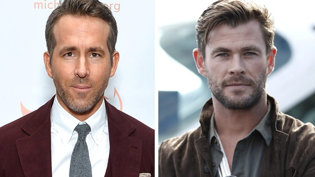 Ryan Reynolds and Chris Hamesworth are talking to each other on trash social media