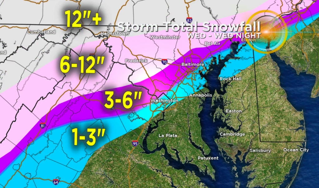 Winter storm warnings can be seen in parts of the state up to 1 foot of snow - CBS Baltimore