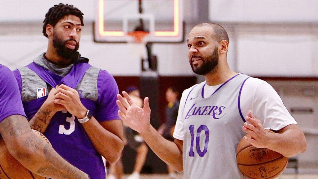 Jared Dudley thinks Los Angeles Lakers teammate Anthony Davis is in the starting lineup for the MVP season