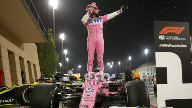 Sergio Perez wins first, Canadian Lance Stroll finishes on podium at wild Zakhir GP
