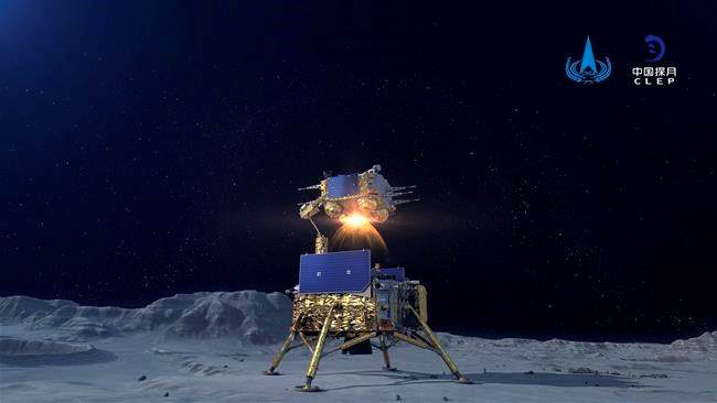 The Chinese probe orbits the moon with patterns attached to the earth
